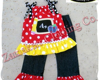 Girl Back To School Clothing Outfit Pageant 24 MONTH SIZE 2T 3T 4 5 6 7 8 t T Red Polka Denim 1st day of Kindergarten Preschool Top Pant Set