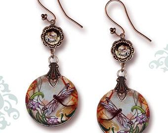 Dragonfly Dangle Earrings - Reversible Glass Art - Voyageur - Nouveau Jardin Collection - Copper Garden Dragonfly