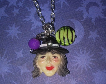 Witch Necklace Halloween Jewelry Charm Pendant Wicca Wiccan Pagan Vintage Style Costume Accessory FREE SHIPPING USA/Canada