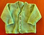 baby jacket merino handknit lime green