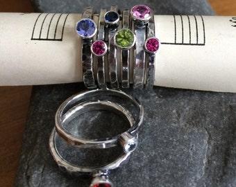 Petite Sterling Silver Gemstone Stacking Ring