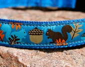 "1"" wide Squirrel Theme Dog Collar - buckle or martingale - custom made"
