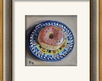 Polish Pottery, Pink Donut art still life giclee,kitchen art, print, Heather Sims. mat and size option