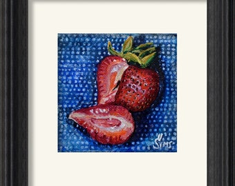 Polish Pottery Art , strawberry  print, Still life artwork , series by Heather Sims , giclee mat size option