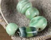 Handmade stoneware ceramic beads Pastel Green (5)