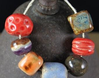 Handmade stoneware ceramic beads Sampler (7)