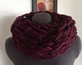 Arm Knit Infinity Cowl - Wine/Burgundy