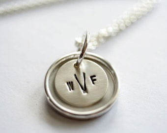 Simply Pretty Sterling Silver Personalized Pendant Necklace - A Hand Stamped Custom Layered Pendant and Chain