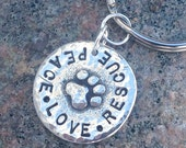 Peace Love Rescue or Peace Love Adopt Key Ring, Keychain or Personalized with Pets Names