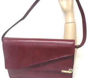 Vintage Etienne Aigner Leather Purse 70s Shoulder Bag Oxblood Logo Flap Bag