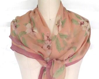 Vintage Silk Scarf Ann Taylor Floral Silk Scarf / Shawl / Wrap 33x 33 Japan