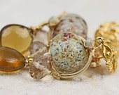 CLEARANCE 60 OFF - The Golden Decadence - Gold Gemstone & Glass Earrings