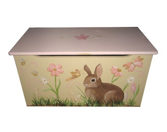 Childrens wooden toy box - Single Sided Design - Bunny