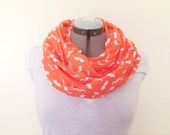Infinity Scarf - Orange & White Mustaches