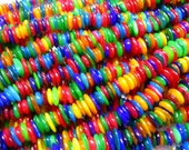 Multi-color Shell Disc Rondelle Chip Spacer Beads apx 8-10mm -32 inch strand