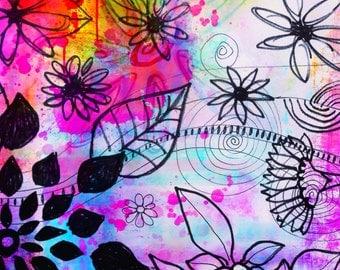 Freefall   flowers art print  floral garden leaves doodles art print