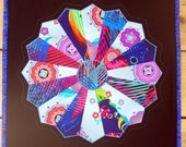 Quilted Dresden Plate Circle Star Flower Table Topper Wall Hanging Multicolor