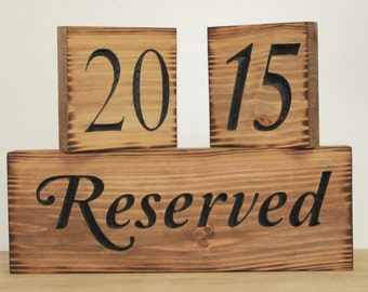 Rustic Wedding Table Number Signs 1 - 12 Carved Wood, Reserved Sign Country Barn Style Reception