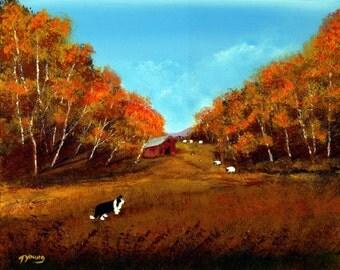 Border Collie Dog Folk Art Print Todd Young AUTUMN PASTURE