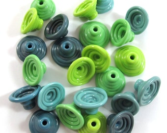 Handmade Lampwork Beads Glass, Lampwork beads set, Cone Shape Bead Caps, turquoise and green (24) SRA