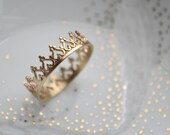 14k solid gold crown ring, wedding band, engagement ring,