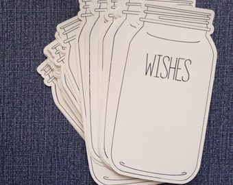 100 Extra Large Mason Jar tags wish cards rustic vintage baby shower wedding wishes graduation party
