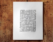 Gray Alphabet Doubled Art Letterpress Poster Print • Home, Office or Kids Room Decor • 14.5x20 • Ink petals