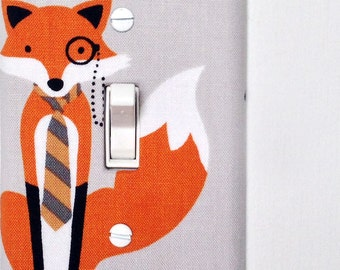 Light Switch Plate Cover, wall decor - gray with fancy fox with eye piece and tie