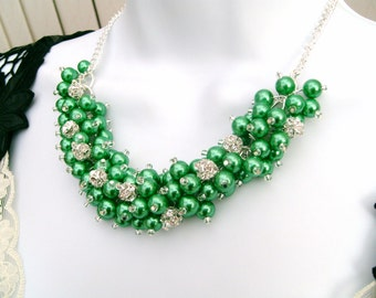 Kelly Green Pearl and Rhinestone Beaded Necklace, Bridal Jewelry, Cluster Necklace, Chunky Necklace, Bridesmaid Gift,  Pearl Crystals