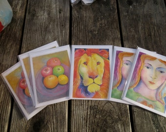 Watercolor Reproductions on 4 x 5 Note Cards. 3 designs left!