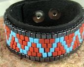 Southwestern beaded leather bracelet, Mans turquoise and silver bracelet, Beaded leather cuff bracelet, Bikers black leather snap bracelet