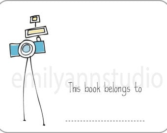 Camera Bookplates - This Book Belongs To Labels Set of 15