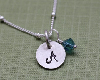 Personalized Tiny Initial Charm Necklace with Birthstone, Hand Stamped Letter Necklace