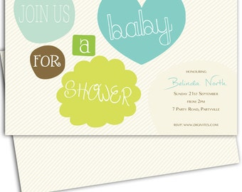 Baby Shower Invitation/Gender neutral Baby Shower invitation/Baby Shower/Shower Invitation/Invitation/Print yourself/free background