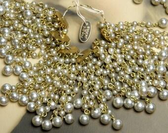 Vintage Glass Pearl Bead Findings 4 pcs Supply Japan