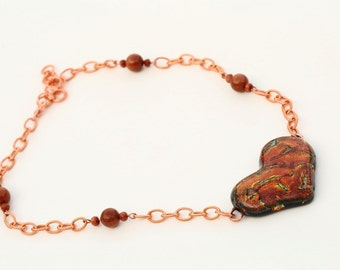 Heart Shaped Iridescent Dichroic Fused Glass Necklace Mixed Media Copper Chain and Goldstone Beads