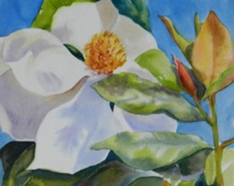 Magnolia Watercolor Painting, Art on Board, Home Southern Wall Decor, Southern Flowers, Magnolia, No Frame Needed, Original Floral Painting