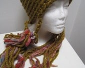 "olive multi-color fringe hat, crocheted with hand spun and acrylic wool yarn  ""lombardia"""