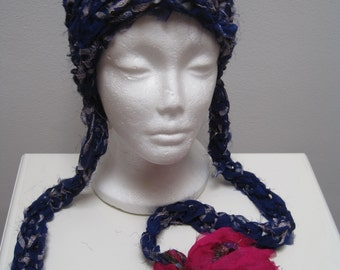 "royal fuschia crocheted hat with tails, made from upcycled chiffon scraps ""kerala"""