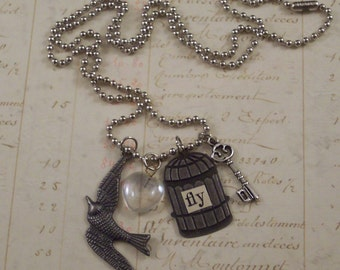 Bird Cage Charm Necklace - Flying Bird Necklace - Bird Cage Necklace - Bird Necklace - Mixed Media Necklace