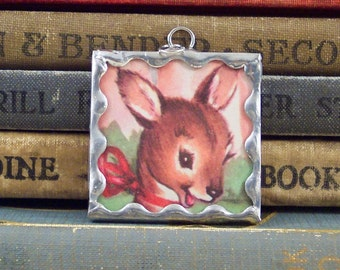 Kangaroo Pendant - Australian Animal - Kangaroo Charm - Book Page Charm Pendant - Soldered Glass - Australian Outback