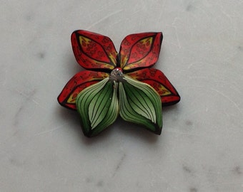 Red Lily - polymer clay-brooch