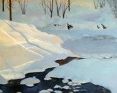 beautiful original landscape painting snow kansas city artist jane pronko photorealism stunning blue winter scene oil on canvas
