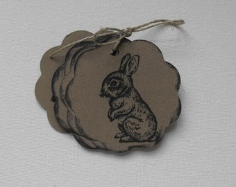 Bunny Paper Tags Stamped by The Paper Peddler for gift wrap grab bags Party Favors adornments 12 pieces