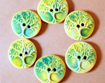 6 Handmade Ceramic Buttons in Light Green - Tree of Life Buttons - Small Size