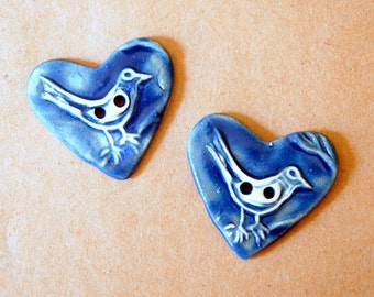 2 Sweet Ceramic Bird in a  Heart Buttons denim blue