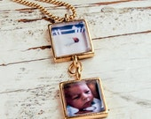 The Perfect Gift for New Parents: Personalized double photo pendant - from artwork or photo - small squares or circles.