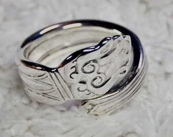 Art Nouveau Sterling Spoon Ring Sizes 6.5 to 9.5
