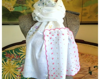 Mostly White Dainty and Delicate Springtime Embroidered Floral Vintage Hankie Scarf
