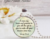 Round LRG Glass Bubble Pendant Necklace- I Cross My Heart- George Strait Song Lyrics